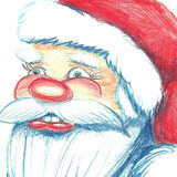 Hand drawn portrait of Santa Claus. Watercolor pencils illustration. Isolated on white royalty free illustration