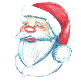Hand drawn portrait of Santa Claus. Watercolor pencils illustration. Isolated on white Stock Photo