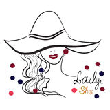 Hand drawn portrait of stylish girl in hat. Good for shop logo,magazine cover, journal article, print, packaging design. Hand drawn portrait of stylish girl in Royalty Free Stock Photo