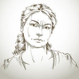 Hand-drawn portrait of white-skin doubtful woman, face emotions Stock Image