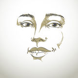 Hand-drawn portrait of white-skin flirting woman, face emotions Royalty Free Stock Photos