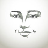Hand-drawn portrait of white-skin flirting woman, face emotions Royalty Free Stock Photography