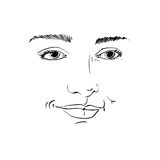 Hand-drawn portrait of white-skin flirting woman, face emotions Royalty Free Stock Image
