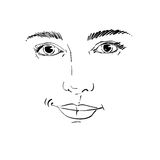 Hand-drawn portrait of white-skin flirting woman, face emotions Stock Photography