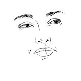 Hand-drawn portrait of white-skin flirting woman, face emotions Stock Image