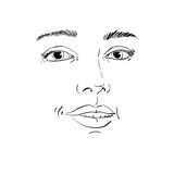 Hand-drawn portrait of white-skin flirting woman, face emotions Stock Photo