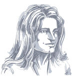 Hand-drawn portrait of white-skin romantic tender Caucasian woma Royalty Free Stock Images