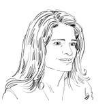 Hand-drawn portrait of white-skin romantic tender Caucasian woman Stock Photos