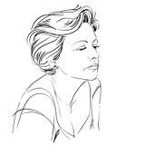 Hand-drawn portrait of white-skin sad woman, face emotions theme Stock Photo
