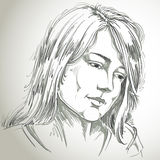 Hand-drawn portrait of white-skin sorrowful woman, sad face emot. Ions theme illustration. Beautiful melancholic lady posing on white background Stock Photo