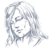 Hand-drawn portrait of white-skin sorrowful woman, sad face emot Stock Photography