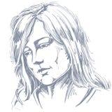 Hand-drawn portrait of white-skin sorrowful woman, sad face emot. Ions theme illustration. Beautiful melancholic lady posing on white background Stock Image