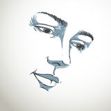Hand-drawn portrait of white-skin sorrowful woman, sad face emot Royalty Free Stock Image