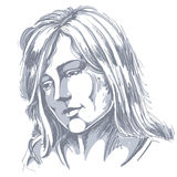 Hand-drawn portrait of white-skin sorrowful woman, sad face emot. Ions theme illustration. Beautiful melancholic lady posing on white background Stock Photography