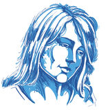 Hand-drawn portrait of white-skin sorrowful woman, sad face emot. Ions theme illustration. Beautiful melancholic lady posing on white background Royalty Free Stock Photos
