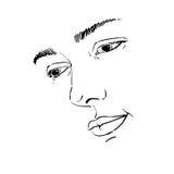 Hand-drawn portrait of white-skin sorrowful woman, sad face emot. Ions theme illustration. Beautiful melancholic lady posing on white background, face features Royalty Free Stock Image