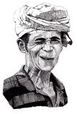 Hand drawn portrait of winking man. Black and white pen drawing of portrait of a Indonesian winking man wearing a turban Royalty Free Stock Photography