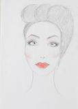 Hand drawn illustration of beautiful woman Royalty Free Stock Image