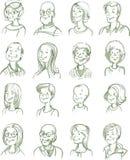 Hand Drawn Portraits Set Stock Images
