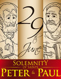 Hand Drawn Portraits for Solemnity of Saints Peter and Paul, Vector Illustration Royalty Free Stock Photo