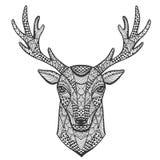 Hand-drawn portret van een hert in de stijl Stock Afbeelding