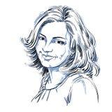 Hand-drawn portret van wit-huid glimlachende vrouw, gezichtsemoties Royalty-vrije Stock Fotografie