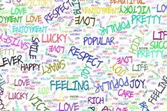 Hand drawn positive emotion word cloud illustrations background, good for graphic design, flyers, wallpapers or booklets. Vector graphic stock illustration