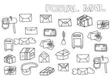 Hand drawn postal set. Coloring book page template. Stock Image