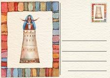 Hand drawn back postcard ,Virgin Mary royalty free stock image