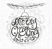 Hand-drawn postcard with the words merry Christmas. Hand-drawn Royalty Free Illustration