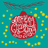 Hand-drawn postcard with the words merry Christmas. Stock Photo