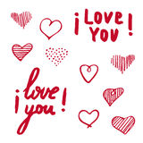 Hand drawn poster with Lettering I love you Royalty Free Stock Photos