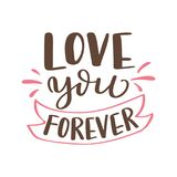 Hand drawn poster with love elements. Brush calligraphy. Happe Valentines Day. Vector illustration Stock Images