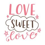 Hand drawn poster with love elements. Brush calligraphy. Happe Valentines Day. Vector illustration Royalty Free Stock Image