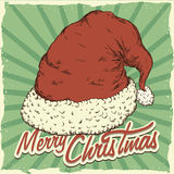 Hand Drawn Poster with Realistic Santa's Hat, Vector Illustration stock photo