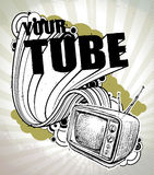 Hand-drawn poster with retro TV set Stock Photography