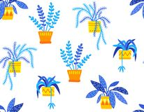 Hand drawn potted plants in flat style seamless pattern, blue and yellow colors, transparent backdrop stock photo