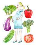 Hand drawn pregnant and vegetables. Set of pregnant woman and vegetables - watercolor on white stock illustration