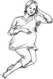 Hand drawn pregnant woman Stock Image