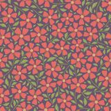 Hand drawn pretty red flowers and leaves ditsy floral design. Vector seamless pattern on dark purple background. Great royalty free stock photo