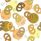 Hand drawn pretzel - Seamless pattern Royalty Free Stock Image