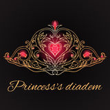 Hand-drawn princess tiara on black background. Royalty Free Stock Photo