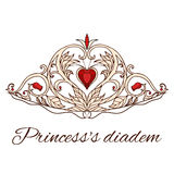 Hand-drawn princess tiara. Queen Crown. Doodle elements for your design Stock Photos