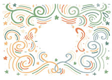 Hand drawn print with decorative outline ornament and copy space Stock Photos