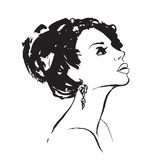 Hand drawn Profile of young woman with big hair. Royalty Free Stock Photos