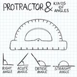 Hand-drawn protractor and angles. Vector. Illustration. Doodle or sketch style Royalty Free Stock Images