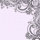 Hand-Drawn Psychedelic Doodle Swirls Vector. Hand-drawn Psychedelic Abstract Notebook Doodles  Vector Illustration- on Graph (Grid) Paper Background Royalty Free Stock Images