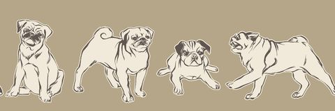 Hand drawn pug puppy dogs. Vector sketch seamless border, animal pets illustration. Hand drawn pug puppy dogs. Vector sketch seamless border, pets illustration vector illustration