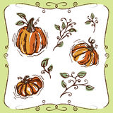 Hand-drawn pumpkins and vines Royalty Free Stock Photos