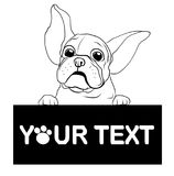 Hand drawn puppy French bulldog with place for text vector. Cartoon Happy French bulldog smile with Space for text. Royalty Free Stock Photos